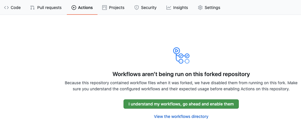 the enable workflows button