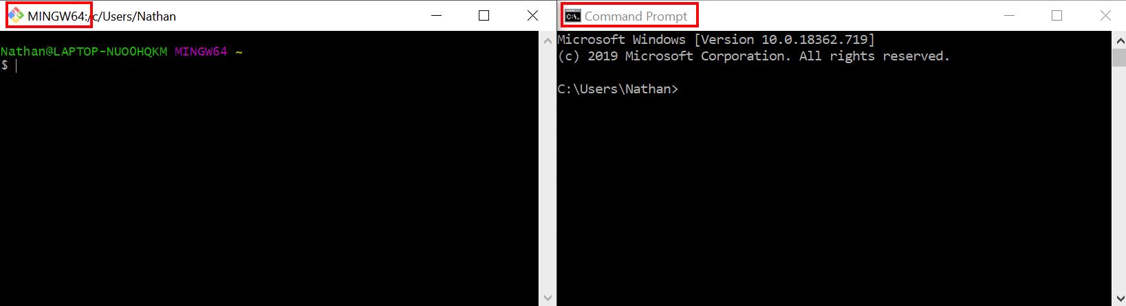 Git Bash vs. Command Prompt differences