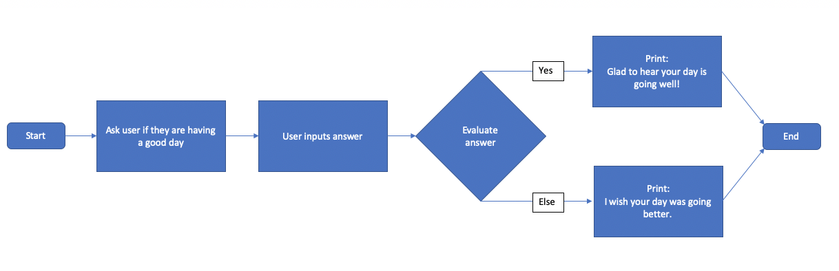 The program flowchart with two branches