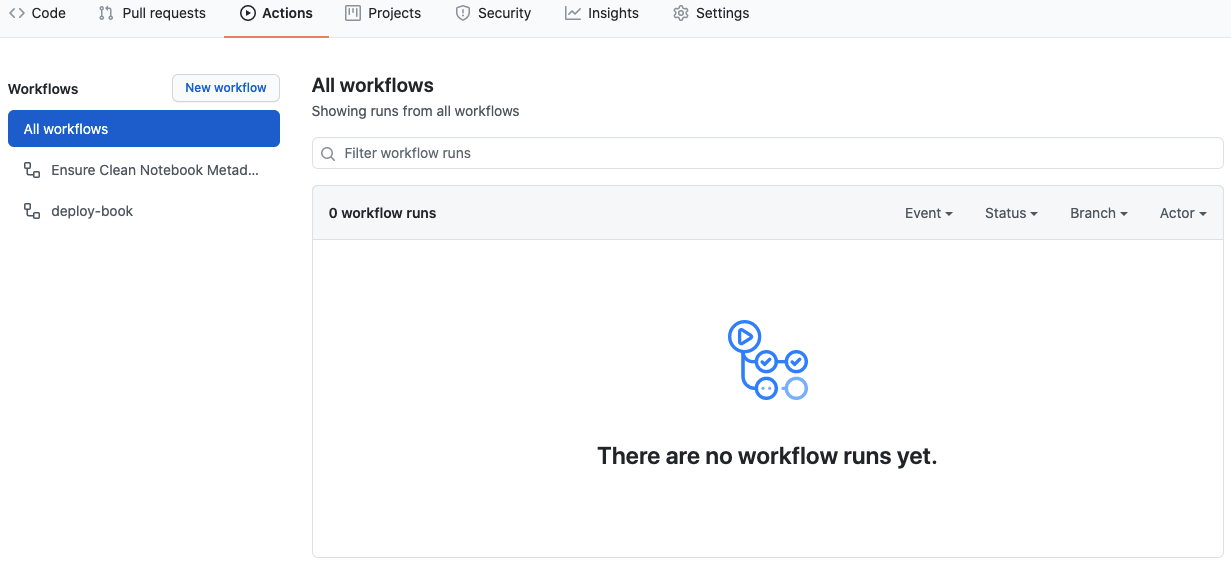 the box showing no workflows have run