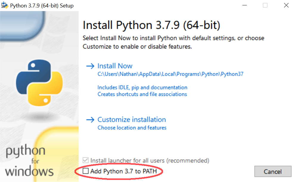 """The """"Add Python 3.7 to path"""" prompt"""