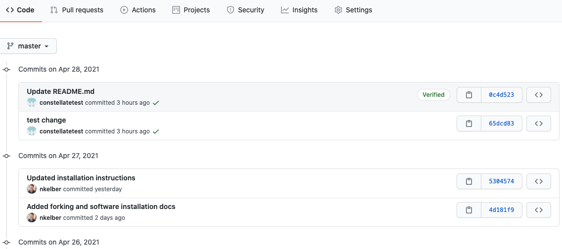 all recent commit hashes in github
