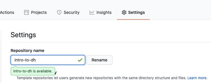 Settings menu and repository rename form